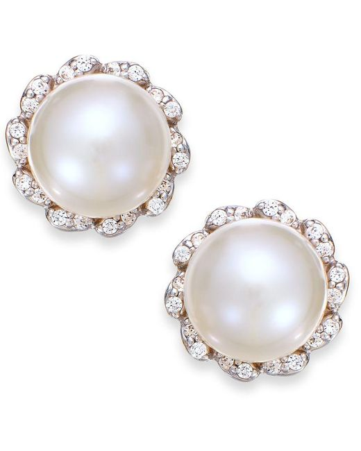 Macy's | Metallic Cultured Freshwater Pearl (7mm) And Diamond (1/8 Ct. T.w.) Earrings In 14k Gold | Lyst