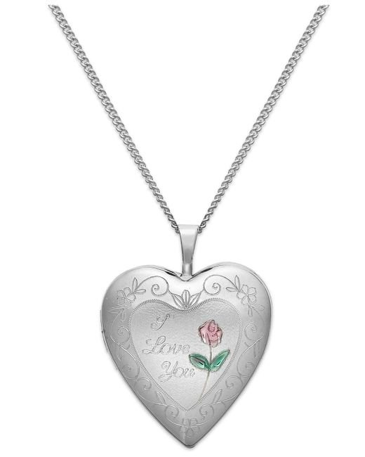 Macy's | Metallic I Love Your Heart Locket Necklace In Sterling Silver | Lyst