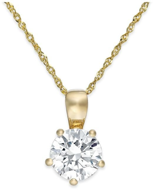 Arabella | Metallic Swarovski Zirconia Solitaire Pendant Necklace In 14k Gold (2 Ct. T.w.) | Lyst