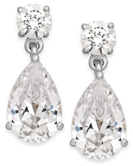 Arabella | Metallic Swarovski Zirconia Double Drop Earrings In 14k White Gold | Lyst