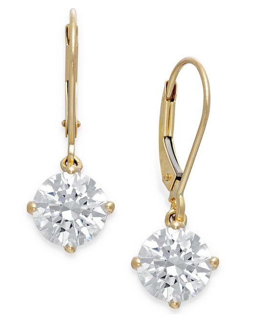 Arabella | Metallic Swarovski Cubic Zirconia Leverback Earrings In 14k Gold (4-1/2 Ct. T.w.) | Lyst