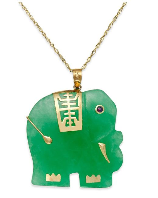 Macy's | Green Dyed Jade Elephant Pendant Necklace In 14k Gold (25mm) | Lyst
