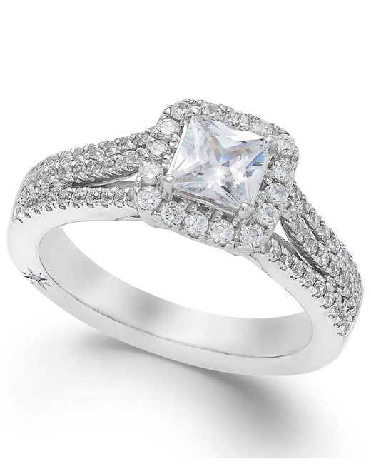 Marchesa | Certified Diamond Split Shank Engagement Ring In 18k White Gold (1-1/5 Ct. T.w.) | Lyst