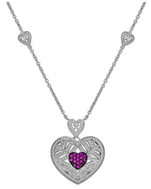 Macy's | Metallic Ruby (1/3 Ct. T.w.) And Diamond (1/10 Ct. T.w.) Heart Pendant In Sterling Silver | Lyst