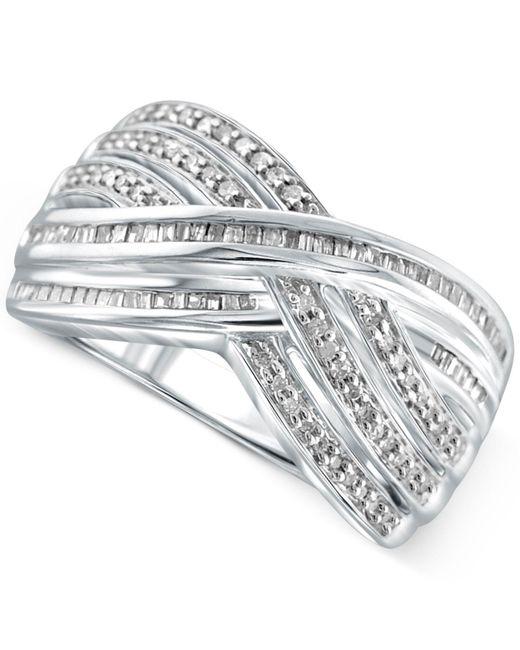 Macy's | Metallic Diamond Crisscross Ring (1/2 Ct. T.w.) In Sterling Silver | Lyst