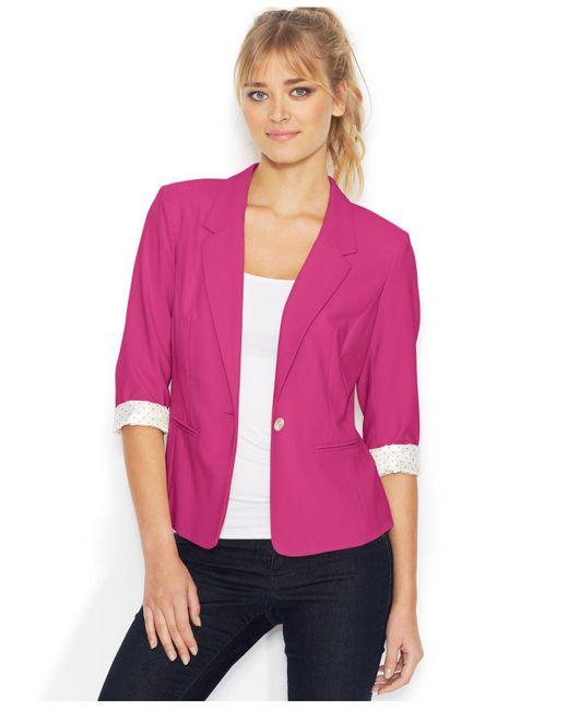 Kensie   Purple Three-quarter-sleeve Blazer   Lyst