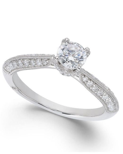 Marchesa | Classic By Certified Diamond Engagement Ring In 18k White Gold (7/8 Ct. T.w.) | Lyst