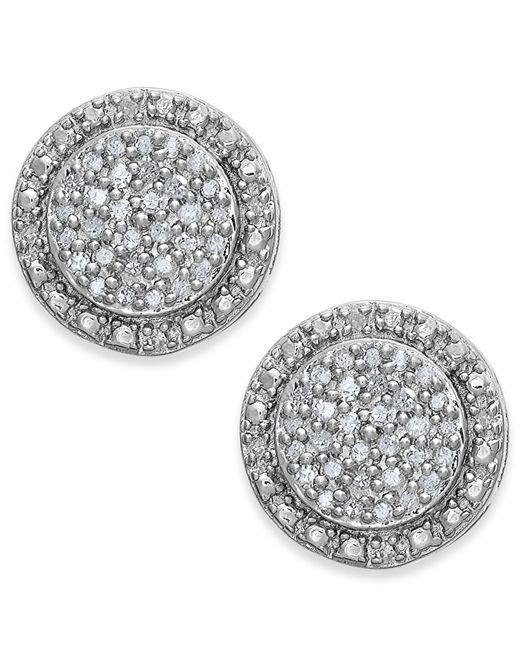Macy's | Metallic Diamond Pave Stud Earrings In Sterling Silver (1/5 Ct. T.w.) | Lyst