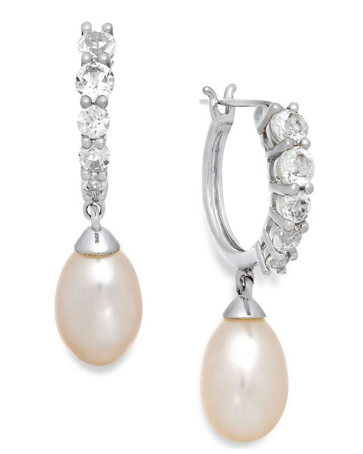 Macy's | White Topaz (1 Ct. T.w.) And Cultured Freshwater Pearl (7mm) Hoop Earrings In Sterling Silver | Lyst
