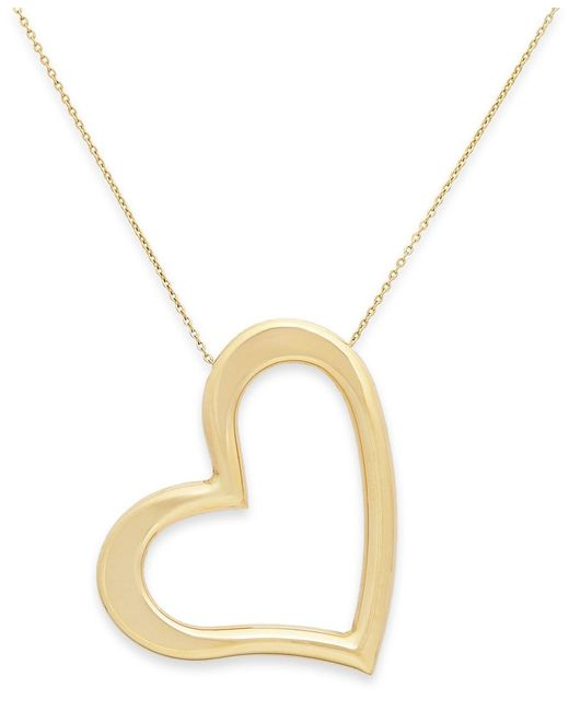 Macy's   Yellow Angled Heart Pendant Necklace In 14k Gold   Lyst