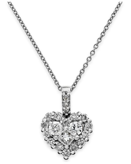 Macy's | Diamond Heart Pendant Necklace In 14k White Gold (5/8 Ct. T.w.) | Lyst