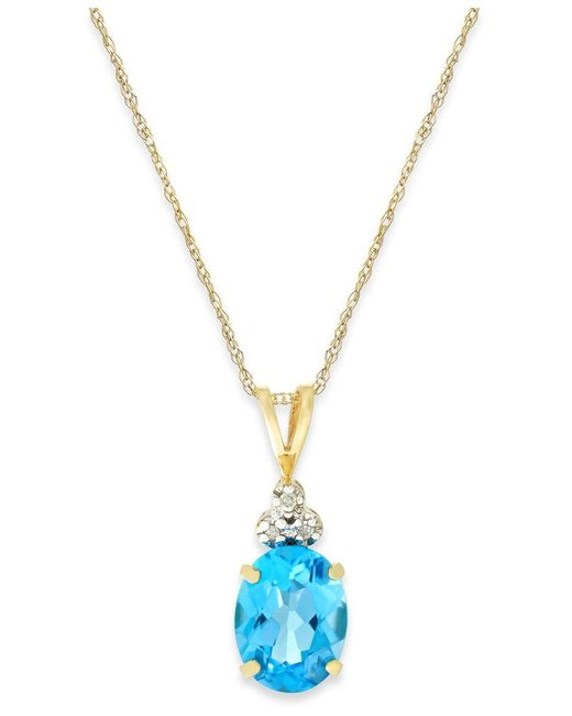 Macy's | Metallic Blue Topaz (2-1/4 Ct. T.w.) And Diamond Accent Pendant Necklace In 10k Gold | Lyst