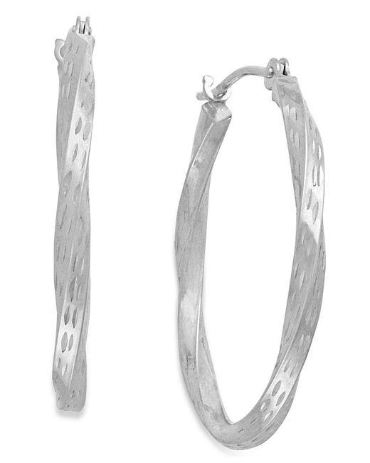 Macy's | Metallic Diamond-cut Hoop Earrings In 10k White Gold | Lyst