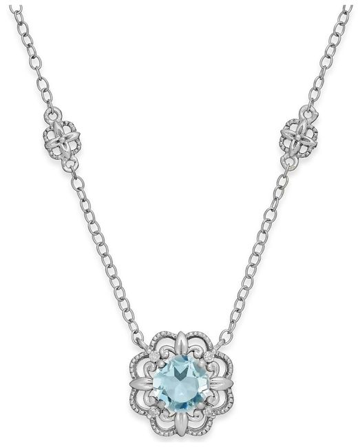 Macy's | Aquamarine (3/4 Ct. T.w.) And Diamond Accent Pendant Necklace In 14k White Gold | Lyst