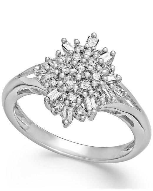 Macy's   Metallic Diamond Flower Cluster Ring In Sterling Silver (1/2 Ct. T.w.)   Lyst