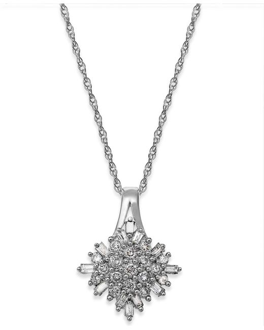 Macy's | Metallic Diamond Cluster Pendant Necklace In Sterling Silver (1/2 Ct. T.w.) | Lyst