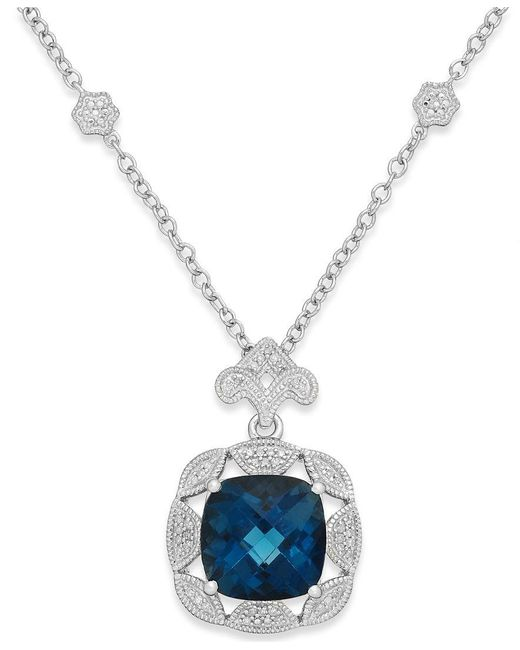 Macy's   London Blue Topaz (7 Ct. T.w.) And Diamond (1/7 Ct. T.w.) Pendant Necklace In Sterling Silver   Lyst