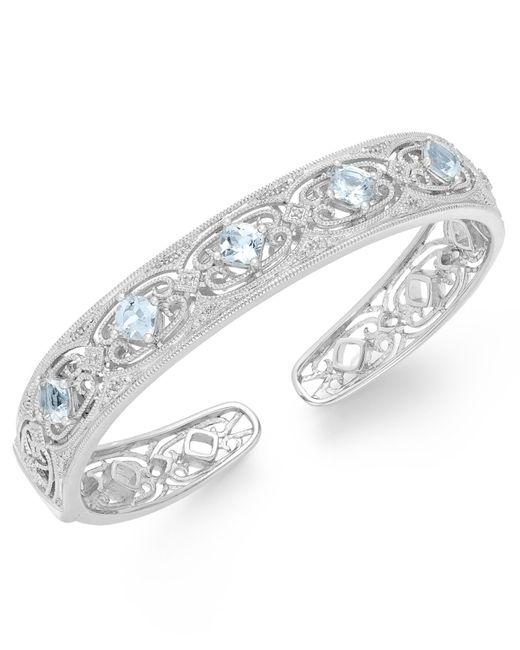 Macy's | Metallic Aquamarine (2 Ct. T.w.) And Diamond (1/10 Ct. T.w.) Bangle Bracelet In Sterling Silver | Lyst