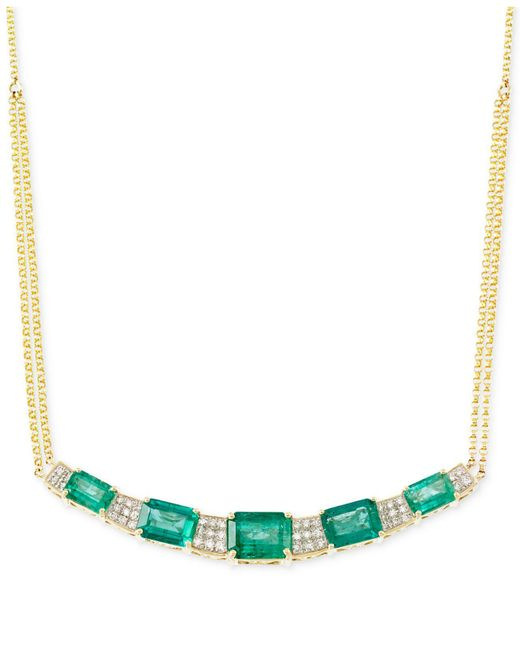 Rare Featuring Gemfields - Metallic Certified Emerald (3-3/4 Ct. T.w.) And Diamond (3/10 Ct. T.w.) Necklace In 14k Gold - Lyst