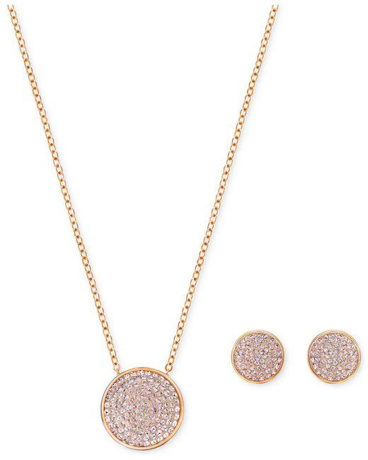 Swarovski - Metallic Pavé Disc Pendant Necklace And Matching Stud Earrings Set - Lyst