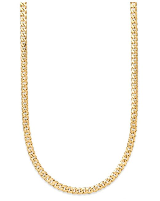 Macy's | Yellow 22 Inch Cuban Link Chain Necklace 7mm In 14k Gold | Lyst