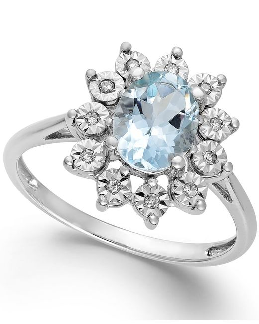 Macy's | Metallic Aquamarine (1 Ct. T.w.) And Diamond Accent Ring In 14k White Gold | Lyst