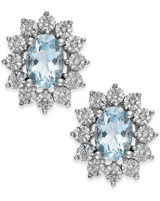 Macy's | Blue Aquamarine (1-1/3 Ct. T.w.) And Diamond Accent Stud Earrings In 14k White Gold | Lyst