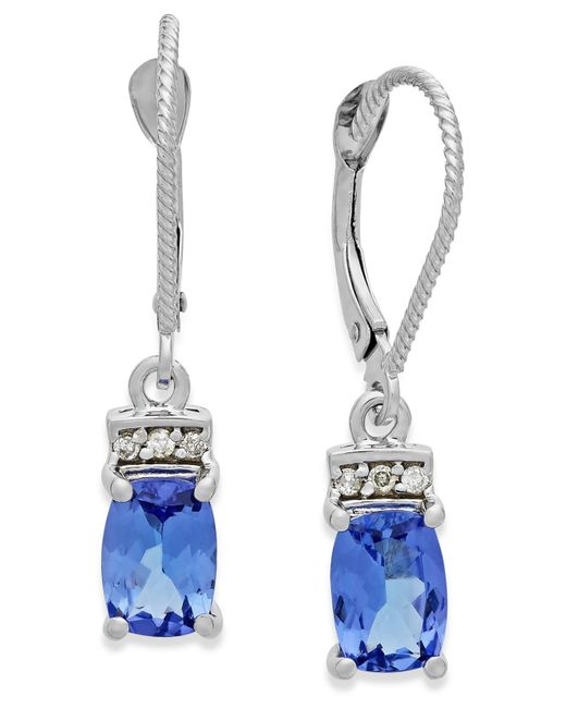 Macy's | Tanzanite (2-1/5 Ct. T.w.) And Diamond Accent Drop Earrings In 14k White Gold | Lyst