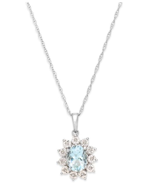 Macy's | Metallic Aquamarine (1 Ct. T.w.) And Diamond Accent Pendant Necklace In 14k White Gold | Lyst