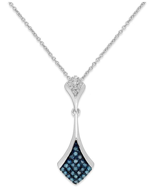 Macy's   Blue And White Diamond Pendant Necklace In Sterling Silver (1/5 Ct. T.w.)   Lyst