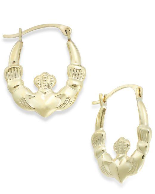 Macy's | Metallic Claddagh Hoop Earrings In 10k Gold | Lyst