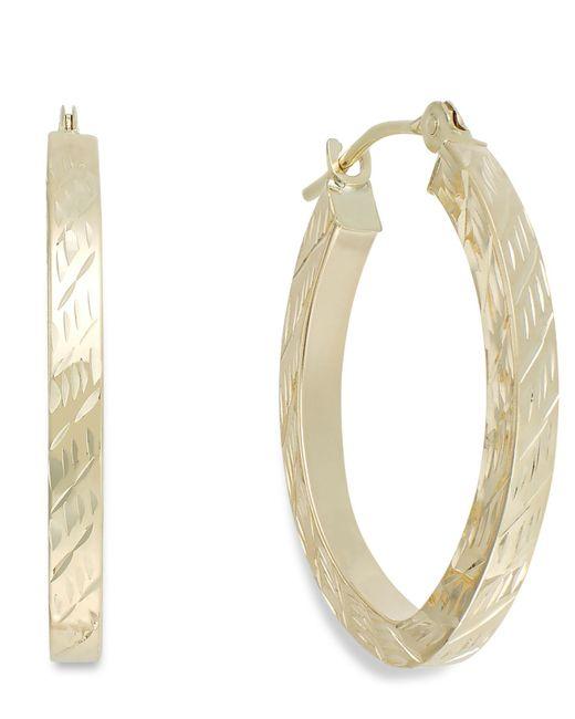 Macy's | Metallic Textured Oval Hoop Earrings In 10k Gold | Lyst
