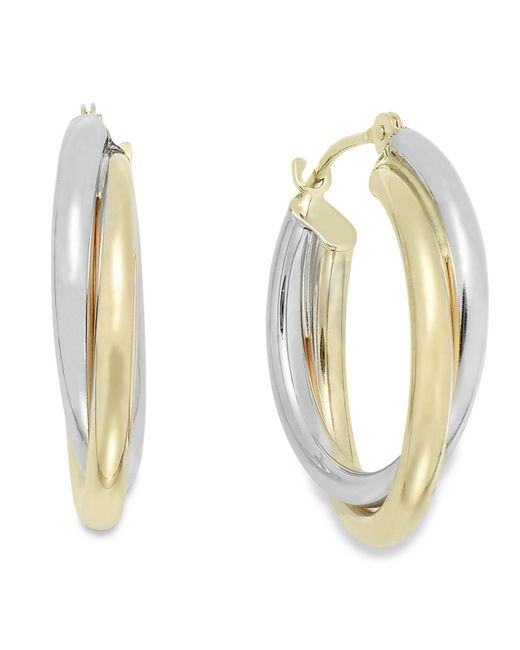Macy's | Interlocking Hoop Earrings In 10k White And 10k Yellow Gold, 19mm | Lyst