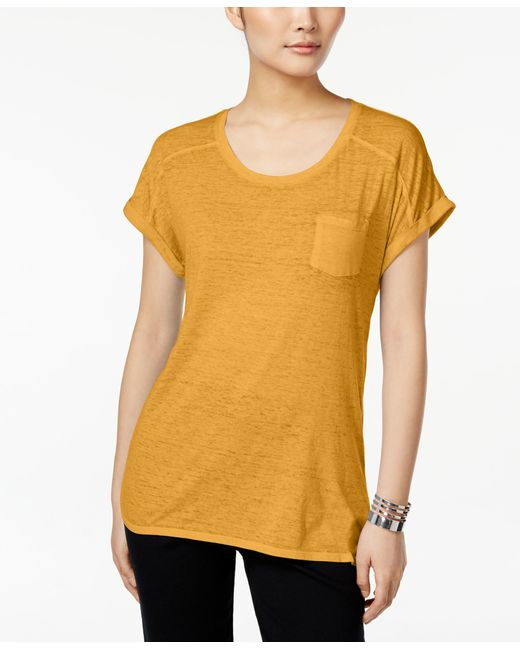 Style & Co. | Yellow Burnout T-shirt, Only At Macy's | Lyst