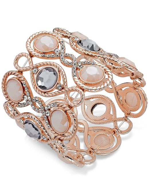 INC International Concepts | Pink Rose Gold-tone Large Stone Stretch Bracelet | Lyst