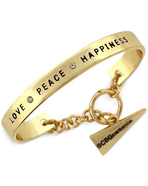 BCBGeneration   Metallic Gold-tone Love Peace Happiness Toggle Cuff Bracelet   Lyst