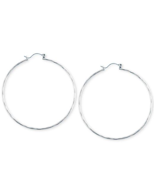 Lucky Brand   Metallic Big Hammered Hoop Earrings   Lyst