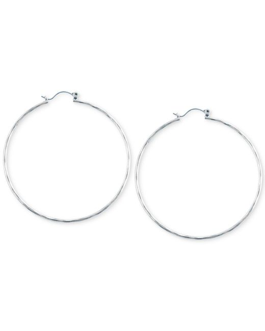 Lucky Brand | Metallic Big Hammered Hoop Earrings | Lyst