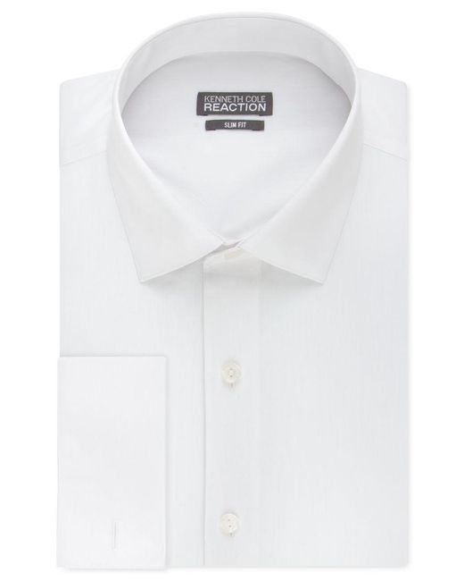 Kenneth Cole Reaction | White Slim-fit Solid French Cuff Shirt for Men | Lyst