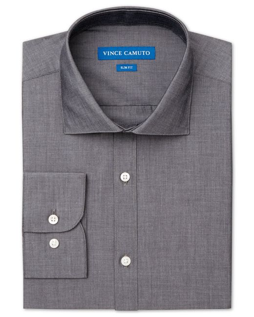 Vince Camuto | Gray Slim-fit Chambray Solid Dress Shirt for Men | Lyst