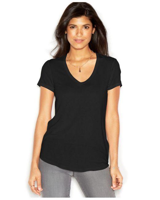 RACHEL Rachel Roy | Black Short-sleeve V-neck Solid Tee | Lyst