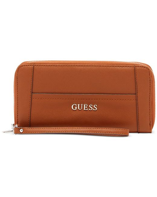 Guess | Brown Delaney Large Zip Around Wallet | Lyst