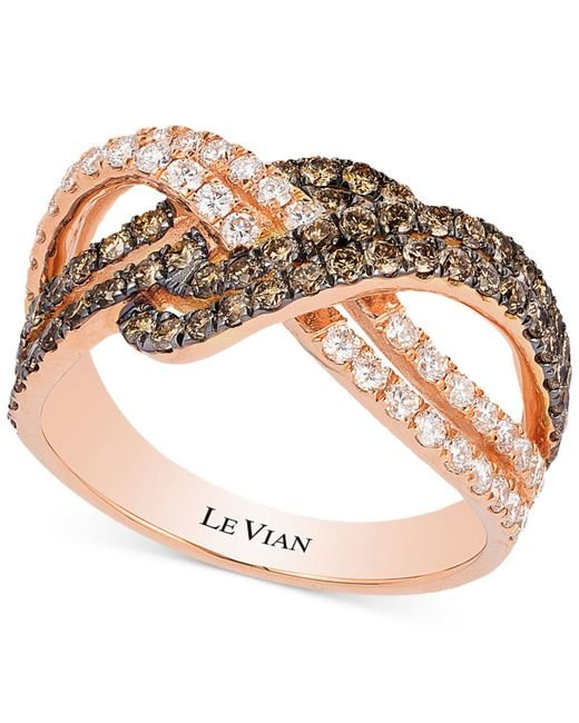 Le Vian | Metallic White And Chocolate Diamond Weave Ring In 14k Rose Gold (1-1/4 Ct. T.w.) | Lyst