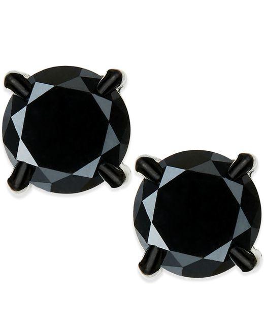 Macy's   Men's Black Diamond Stud Earrings In Stainless Steel (2 Ct. T.w.)   Lyst
