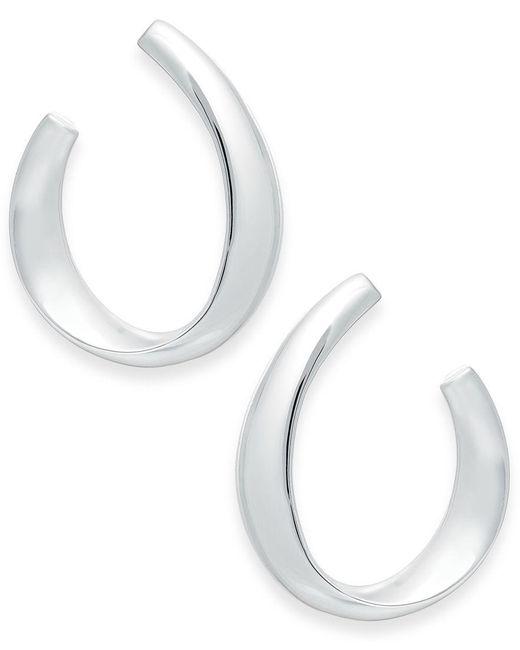 Lauren by Ralph Lauren | Metallic Silver-tone Sculpted Hoop Earrings | Lyst