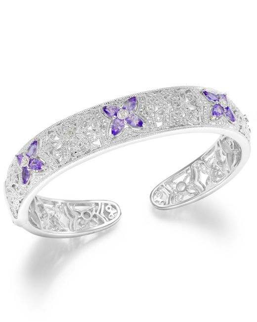 Macy's | Metallic Tanzanite (2 Ct. T.w.) And Diamond Accent Cuff Bracelet In Sterling Silver | Lyst