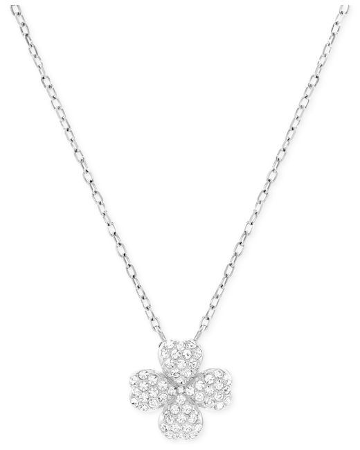 Swarovski | Metallic Rhodium-plated Crystal Pave Four-leaf Clover Pendant Necklace | Lyst
