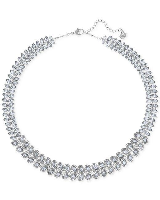 Swarovski | Metallic Baron Rhodium-tone All-around Crystal Necklace | Lyst
