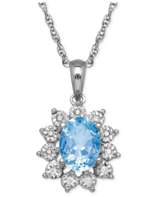 Macy's | Metallic Blue Topaz (1-3/8 Ct. T.w.) And Diamond Accent Pendant Necklace In 14k White Gold | Lyst