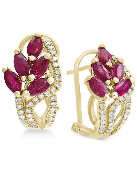 Effy Collection - Red Certified Ruby (2-1/5 Ct. T.w.) & Diamond (1/3 Ct. T.w.) Drop Earrings In 14k Gold - Lyst